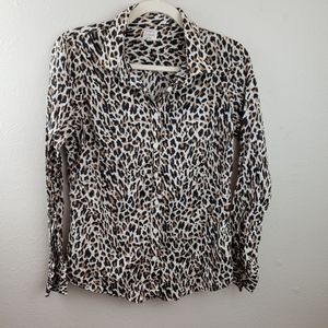 J. Crew Cheetah Leopard Animal Print Button Up S